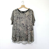 VERGE NZ Size XL 'Palm' Top Shirt Green Black EUC