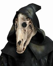 Horse Skull Demon Latex Mask Black Hood Dead Animal Halloween Costume Accessory