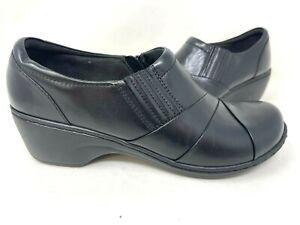 Clarks Women's Channing Essa Slip On Comfort Leather Clogs Blk Size:7.5 147N az