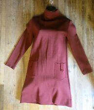 Vtg Women's Dress 1960s-70s By Mia Editions Size 8 Mock Neck Long Sleeve Maroon