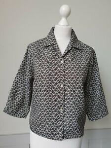 Vintage Ladies 1970s 3/4 Sleeve Blouse In Brown Psych Pattern Polyester*12* TL31