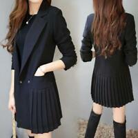 Women Slim Fit Mid long Blazer Jacket Lapel Collar Ruffles Black Coat Outwear US