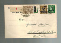 1923 Stuttgart Germany Inflation Postcard cover to Honau 31000 RM