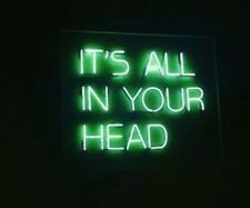 """It's All In Your Head Green Acrylic Neon Light Sign 14""""x10"""" Display Lamp Hanging"""