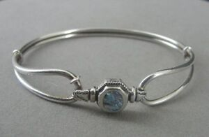 Bracelet Silver Sterling 925 Abalone Stone Bangle Hook Clasp Bracelet