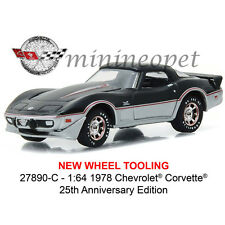 GREENLIGHT 27890 C 1978 CHEVROLET CORVETTE 25TH ANNIVERSARY 1/64 DIECAST BLACK
