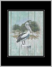 Coastal Rustic Pelican Photo Art Print Beach Decor Bedroom Bath Wall Art Matted