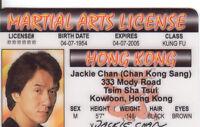 Jackie Chan - Martial ARTS license - Karate - plastic ID card Drivers License -