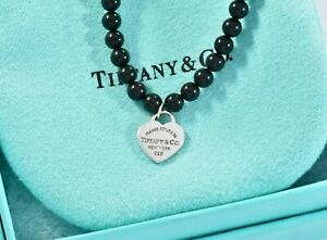 Please Return To Tiffany & Co Silver Heart Charm Black Onyx Bead Bracelet 6.25""