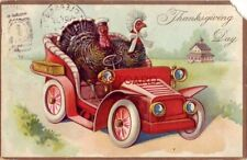1908 Tuck & Sons Thanksgiving Day Post Cards Series No.123 Turkeys out for drive
