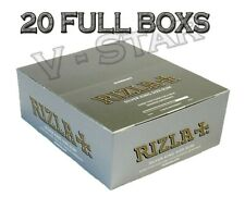 20 BOX RIZLA SILVER KING SIZE SLIM ULTRA THIN CIGARETTE SMOKING ROLLING PAPERS