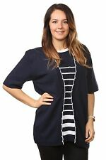 Ladies Womens Striped Twinset Knitted Cardigans Sweaters Jumpers Tops Plus Sizes UK Size 20/22 Navy/ White Stripe 95 Acrylic & 5 Elastane