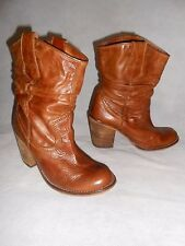 Women Brown Tan Ankle Boots Pull On Block Heel Real Leather soft by Look Size 4