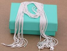wholesale 2PCS 925 sterling solid silver 1MM snake chain necklace 16 - 30 inch