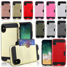 For Apple iPhone X Xr XS Plus Slim Sleek Case with ID Credit Card Holder Cover
