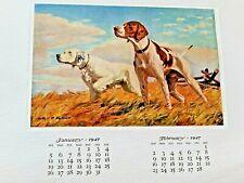 Authur D. Fuller & Spiegle Dog Lithographs A Calendar of Sporting Prints