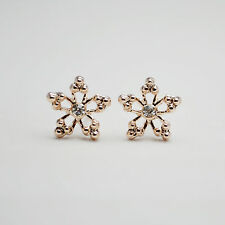 Shiny 14K /14ct Rose Gold Plated Cute Apple Blossom Flower Crystal Stud Earrings