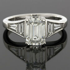 VINTAGE PLATINUM EMERALD CUT DIAMOND ENGAGEMENT RING GIA CERTIFIED 2.13CTW