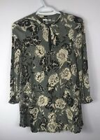 Society Amuse Womens Gray Ivory Floral Print A-line Dress Tunic, Size XS, Used