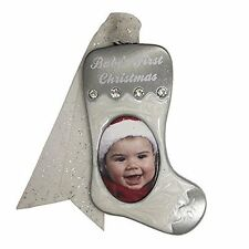 Gloria Duchin White Stocking Photo Christmas Ornament with Baby's First Christma