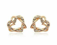 ❤️Earrings 9ct Gold Over Heart Diamond ❤️Studs 16 mm Knot LAST PAIR free Post❤️