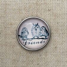 Noosa style chunk snap for leather bracelet -Owl friends