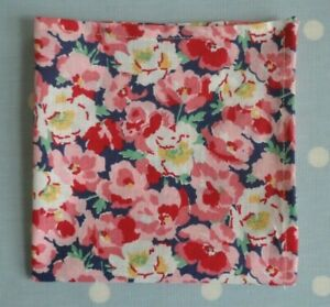 Liberty cotton handkerchief hankie pocket square flowers pink red green navy