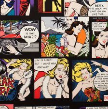 Home Sewing is Easy on Black Cartoon Hawaii Large Print Quilting Fabric FQ or Me