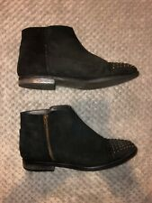 Next Black Leather Studded Flat Ankle Boots Size 5