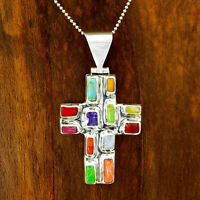 Sterling Silver Multicolor Cobblestone Cross Pendant Jewelry Taxco Mexico