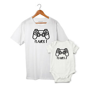 Player 1 & 2 - Father Son matching T-shirt & Baby grow - 0-18 months & S-2XL