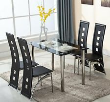 Modern Glass Dining Table and 4 Chairs Set High Back Faux Leather Black
