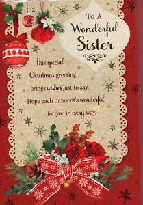 Sister Christmas Card Traditional Design By Prelude Size 20cm x 14cm