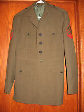 Vtg Vietnam War 1960s US Marines Military Green Wool Jacket Uniform Coat Patches