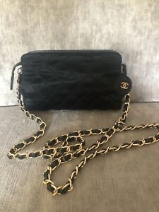 100% Authentic Chanel Black Satin Pouch On Crossbody Chain