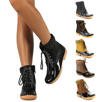 Women's Shearling Lace Up Side Zip Duck Boots Waterproof Insulated Rain Boots