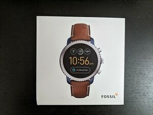 Fossil Q Explorist Gen 3 45mm Blue IP and Luggage Leather Smartwatch - FTW4004