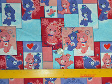 """CARE BEARS On Squares Pattern 1/2 YARD Cotton Fabric Licensed 18"""" X 44"""""""