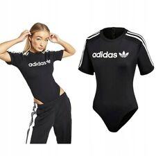 New adidas Originals Women's 3 Stripes Trefoil Linear Bodysuit Tee Black