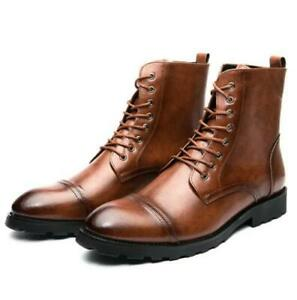 Mens Synthetic Leather Shoes Ankle Boots Business British Style Flat Casual Plus