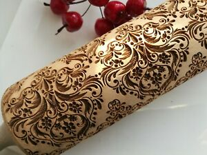 Wooden Rolling Pin Embossed Damask dough Carved Textured Rolling by Oma Marta