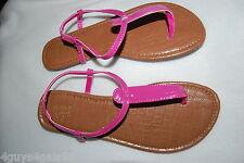 Womens Thong Sandals SHINY PINK Elastic in Ankle Strap 8 CASUAL Summer CUTE