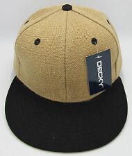 DECKY Burlap Snapback Hat Jute/Cotton Beige w/Black Visor Cap Adult OSFM NWT