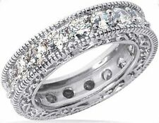 3.10 ct Round Diamond Ring 14k Eternity Band Antique style size 8 0.15 ct each