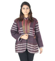 Women's Cotton Jacket Kantha Quilted Coat Indian Handmade Rally Blazer XL Size