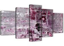XL PRUGNA GRIGIO PITTURA ASTRATTA Wall Art Print Canvas - 5 Set-larghezza 160 cm - 5359