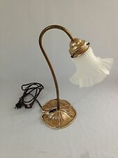 Vintage Metal Flower Shape Table Lamp Frosted Glass Shade Works Lily Pad Base