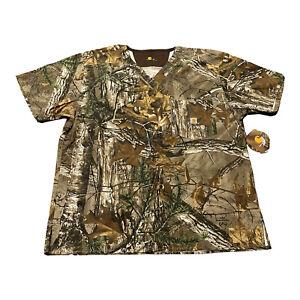 NWT Men's Carhartt C15405 Realtree Camo Camouflage Scrubs Top Sz M Medium
