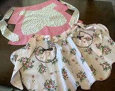 New listing 2 Vintage Aprons Pink Rosebuds Cotton Chintz Rick Rack Ruffles Lot