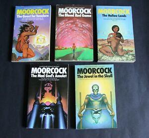 Five Sci Fi Paperbacks by Michael Moorcock. Mayflower - Very Good. Paperbacks